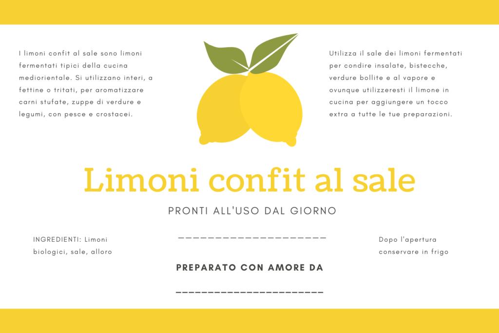Etichetta per Limoni confit al sale