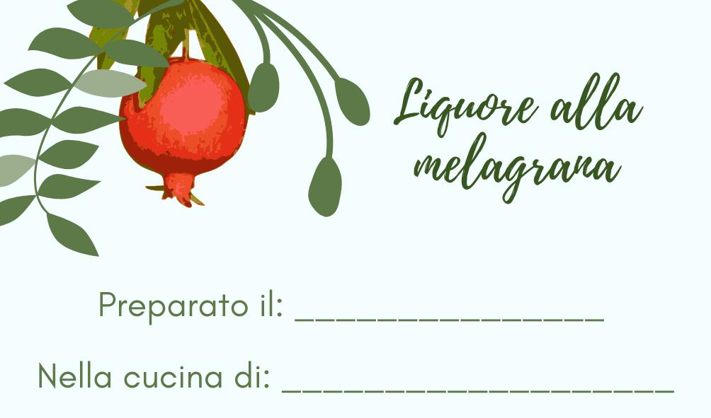 Etichetta per liquore alla melagrana