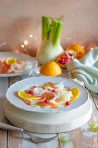 Carpaccio di salmone, finocchi e arance