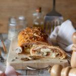 Strudel salato con prosciutto cotto e funghi
